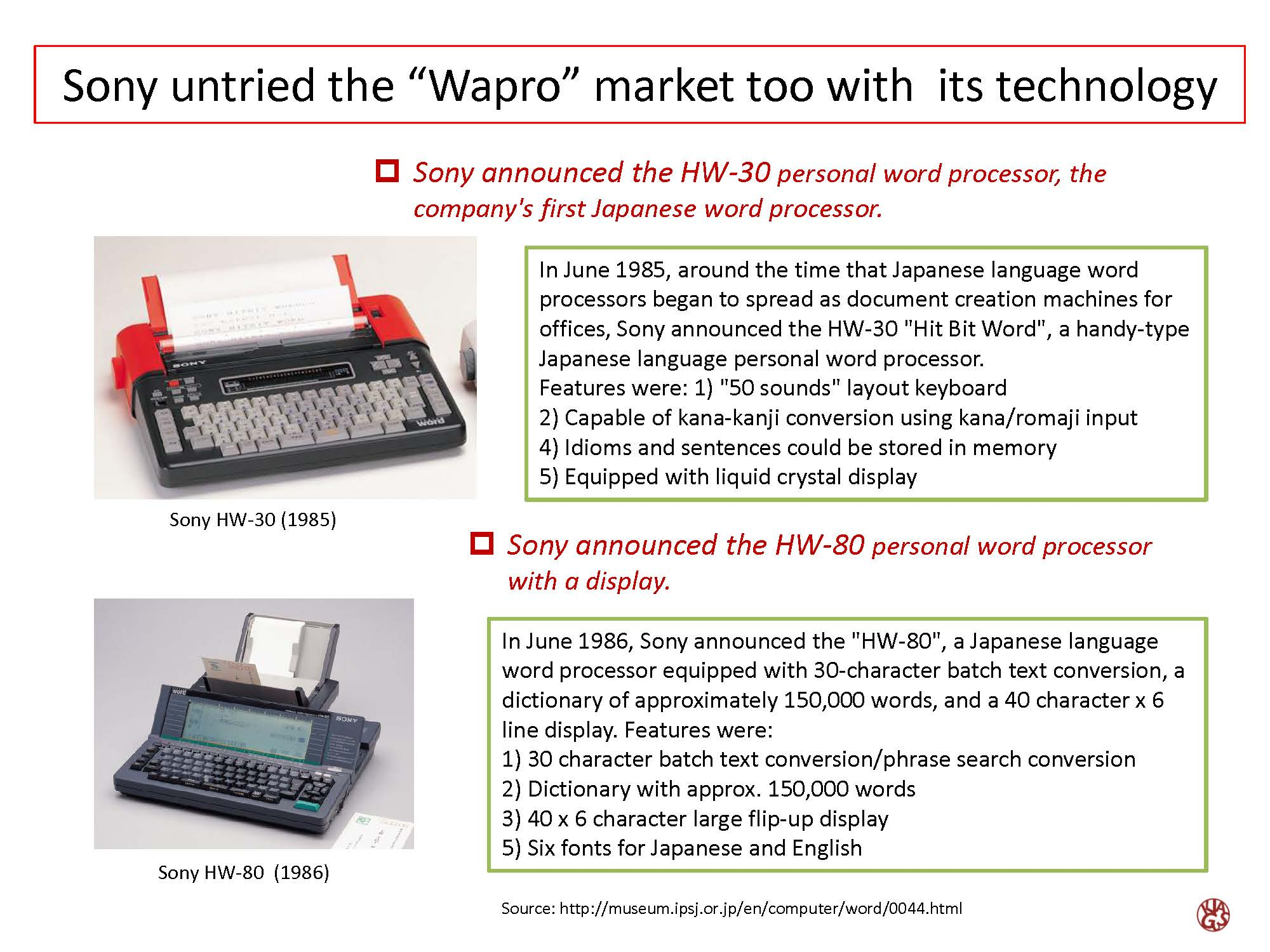 Development of japanese unique word processers asia japan techno sony untried the wapro market too with its technology nvjuhfo Images